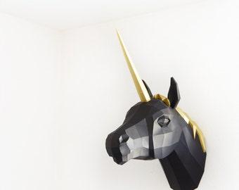 Papercraft Unicorn PREMIUM Gold / Black
