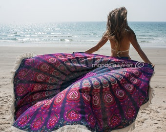 Mandala Tapestry Large, Beach Blanket, Bohemian Beach Sheet, Round Beach Throw, Boho Picnic Roundie