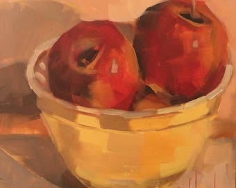 Apple Offering, 6x6 inches, Original Oil Painting, Free Domestic Shipping