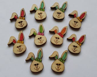 10 multicolored painted wooden Bunny buttons