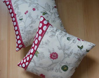 romantic pillow embroidered pink flowers