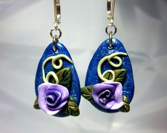 Purple Rose Earrings, Polymer Clay Rose Dangles, Blue Background, Floral, Summer Fun