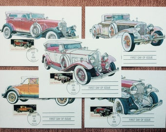 Classic Cars First Day Issue US Postage Stamp FDC 1988 Detroit MI 1932 Packard 1929 Pierce-Arrow 1931 Cord 1935 Duesenberg 1928 Locomobile