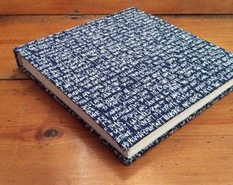Square Sketchbook/fabric covered/gift for artist/cartridge paper/drawing book/traditional bookbinding/fabric with words/handmade notebook