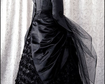 Luxurious Silk Brocade Black Midnight Bustle Jacket by Kambriel - Designer Sample - Brand New & Ready to Ship - Sale Price, Normally 395!