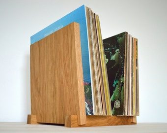 "White Oak Vinyl LP Record Storage Display   Holds 30, 40, 50 or 60 x 12"" Albums   Vinyl Storage"