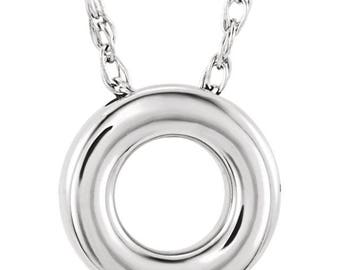 Sterling Silver 10mm Circle Necklace