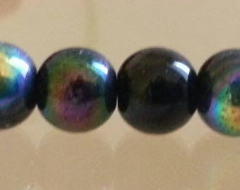 10 round glass strands, black, plated ab, Perle beads: 8 mm in diameter, hole: 1 mm.