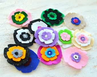 Die cut flowers, felt flower appliques, felt fabric flowers, felt appliques, flower patches, fake flowers(12pcs)- GRAB BAG FLOWERS(set12)