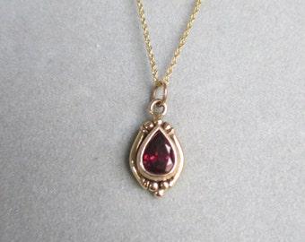 14Kt Gold Pear Shape Garnet Pendant, January Birthstone #PDT114YG