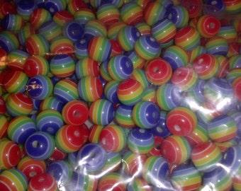 Plastic rainbow beads - round, striped - 8mm - choose quantity 25-200