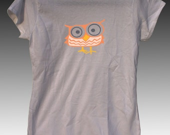 Short Owl Cute Fun Ladies Tshirt