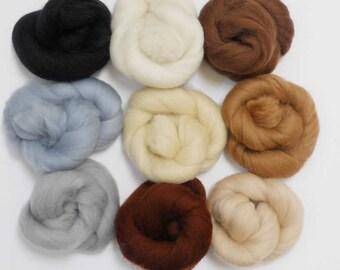 Felting Wools - Merino Wool Tops - NEUTRAL Tones