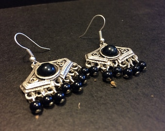 Ferize black agate earrings, Boho chic silver Earrings, aTribal Earrings Gypsy Jewelry Earrings Bohemian Earrings Statement earrings