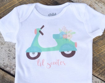 NEW 'LIL SCOOTER Onesies®, Baby Girl Onesie, Moped Onesie, Adventure Onesie, Graphic Onesie, Baby Singlet, Travel Onesie, Cute Baby Clothes