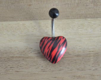 Black and Red Zebra Striped Print Heart Shape Acrylic Belly Button Ring Navel Body Piercing Jewelry