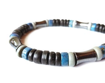 Men's wooden bracelet - made from lapis lazuli, hematite and eco-friendly coconut shell - Blues Song