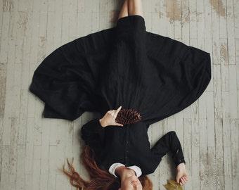 Vintage Dress, Linen Dress, Peter Pan Collar, Black Linen Dress, Black Womens Dress, Long Sleeves Dress, Midi Dress / Black Classic Dress LS