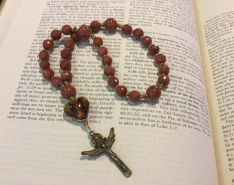 Anglican Rosary  Protestant Prayer Beads  Episcopal Rosary  Goldstone  Christian Mediation Prayer Beads  Ordination Gift   Christmas Gift