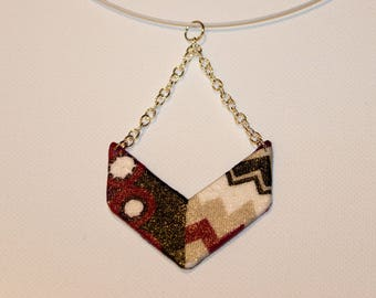 Black and Burgundy geometric pendant