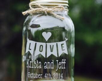 Mason Jar, Love Banner, 1 Quart Mason Jar