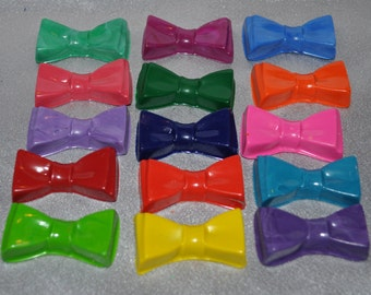 Recycled Crayons Bow Tie Shaped, Total of 15 Crayons.  Boy or Girl Kids Unique Party Favors, Crayons.