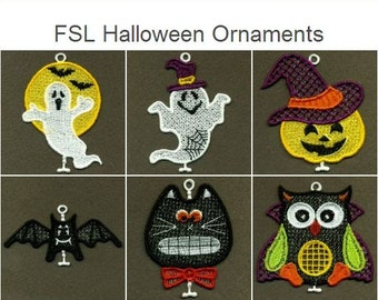 FSL Halloween Ornaments Free Standing Lace Machine Embroidery Designs Instant Download 4x4 hoop 15 designs APE2375