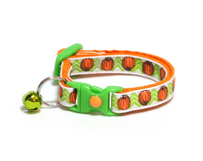 Pumpkin Cat Collar - Pumpkins on Green Chevrons - Small Cat / Kitten Size or Standard / Large Size Collar