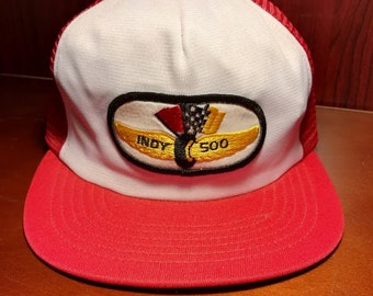 Vintage Indy 500 red and white snapback trucker hat