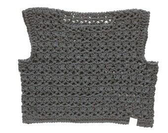 Crete Crop Top in Black, Crochet Lace Cotton Crop Top, Boho Chic Spring Fashion Crop