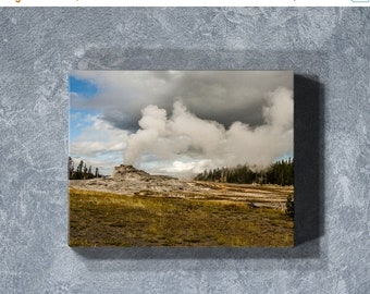 Mothers Day Sale Yellowstone Canvas Print, Canvas Geyser Print, Yellowstone Landscape Photography, Gallery Wrap Canvas, Blue Canvas Wall Art