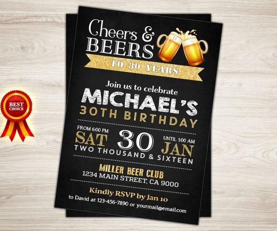 30th Birthday Invitation For Men. Cheers & Beers Invitation