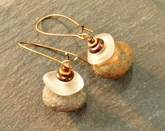 Stone sisters  a pair of double cairn icy white sea glass and granite sea stone earrings from the coast of Maine