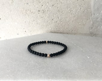 Small Matte Black Onyx Stretch Bracelet