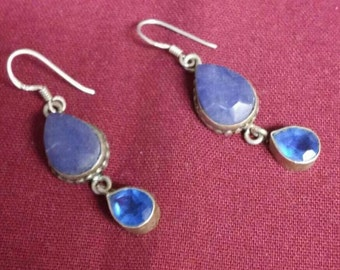 Blue Sapphire unpolished and Blue Quartz Sterling Silver Earrings