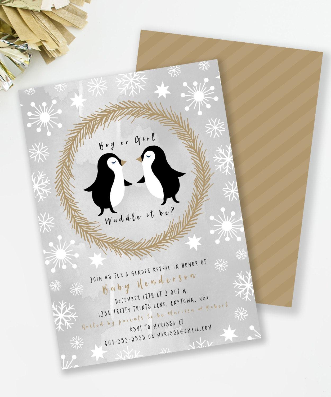 Penguin Gender Reveal Baby Shower Invitation Waddle It Be