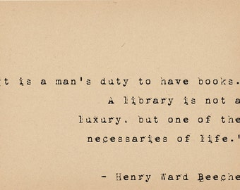 Book Lover Quote - Library Quote - Literary Art Quote Print - Henry Ward Beecher Quote - Bibilophile Art - Library Decor