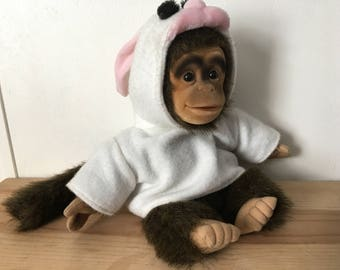 1994 Hosung Hand Puppet Monkey in Rabbit Bunny Suit Works Perfectly