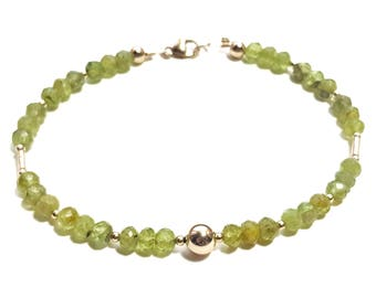 Peridot and 9ct Gold Beaded Bracelet