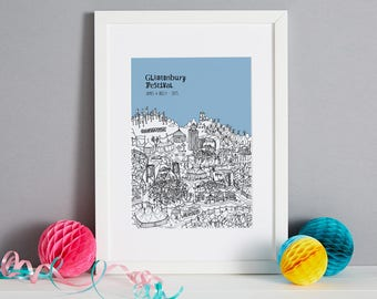 Personalised Glastonbury Print | Glastonbury Festival | Unique Engagement Gift | Custom Wedding Gift | | Glastonbury Festival Picture