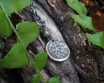 Achillea Millefolium -Yarrow-  Silver Clay Real Botanical Jewelry Amulet Pendant  -Choose Your Stone-  by Quintessential Arts