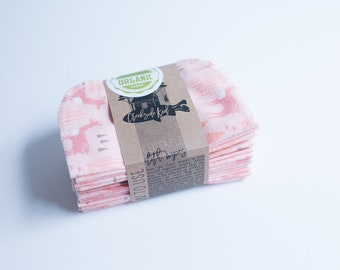Organic Cloth Wipes - Flannel Cloth Wipes - Organic Wipes - Double Layer -   Deer  - Choose your Quantity & Size