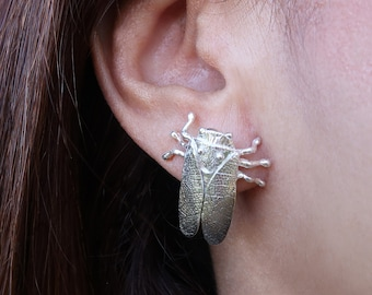 Silver Cicada Earrings, Insect Jewelry, Cicada Jewelry, Insect Earrings, Sterling Silver Stud Earrings, Handmade, Bug Jewelry, Silver insect
