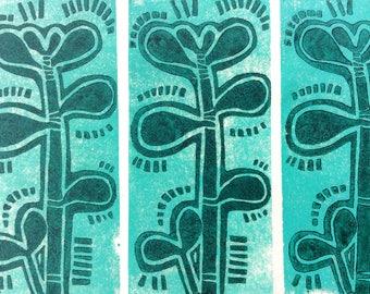 linocut - JADE TREE // 5x7 art print // printmaking // block print // succulent // turquoise, green // original // miniature // houseplant