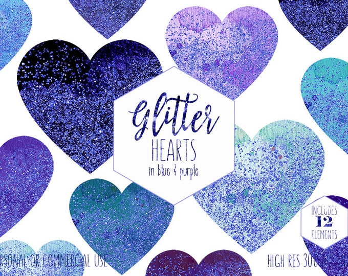 BLUE CONFETTI HEARTS Clipart for Commercial Use Clip Art Watercolor & Glitter Heart Shapes Navy Blue Purple Planner Clipart Digital Graphics