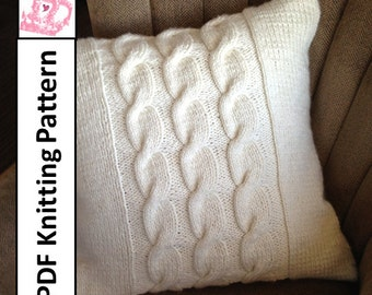 "PDF KNITTING PATTERN, Cable knit pillow cover, knit pillow cover pattern, 24""x 24"",  Chunky Cable knit pillow cover pattern"