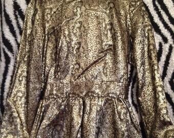 Vintage 80s Avant Garde Black Gold Metallic Snake Print Brocade Back Bow Detailed Blouse Top Small
