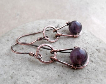 Amethyst Earrings, February Birthstone, Gemstone Copper Dangle Earrings, Hammered Silver Wire Earrings, Crown Chakra, Boho Earrings, Gift