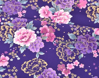 Flower Shabby Chic Cotton Fabric Cloth, Gilding Pink Purple Peony Floral On Violet Cotton - 1/2 yard
