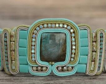 Labradorite soutache bold bracelet gift for her green blue gray